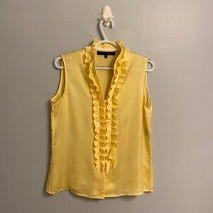 Anne Klein Ruffled Sleeveless Yellow Blouse